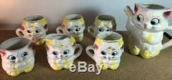 Lefton Cuddles Cat kitten tea set Teapot 4 Cup pitcher cream sugar Miss Sunshine