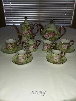 Lefton Green Heritage Tea and Chocolate Pot set