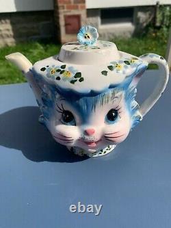 Lefton Miss Priss blue kitty cookie jar/teapot set