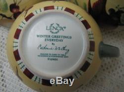 Lenox Winter Greetings Everyday Cardinal Bird Teapot Sugar & Creamer Tea Set