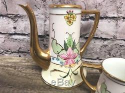 Limoges France Set of 3 Porcelain Teapot/Creamer/Sugar Gold trim Flower Floral