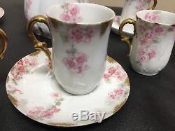 Limoges GDA 12 PC Tea Set Pink Roses Green leaves Tilden Thurber (chocolate Pot)