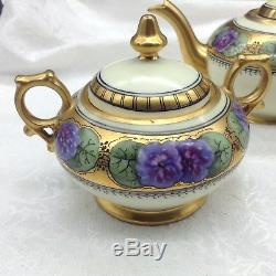 Limoges Hand Painted Purple Flowers Gold Tea Set Teapot Sugar Creamer Donath Lot