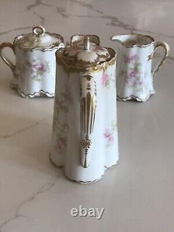 Limoges Haviland Tea Cofee Chocolate Pot Cream and Sugar Set