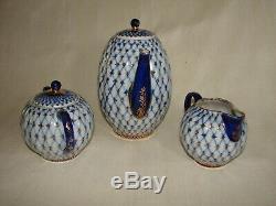 Lomonosov Russian Imperial Porcelain Cobalt Net Tea Pot, Sugar And Creamer Set