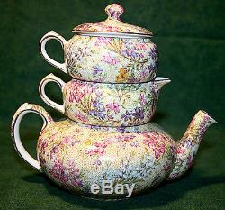 Lord Nelson Heather CHINTZ Tea Pot Creamer Sugar Stacked Set Gold Trim
