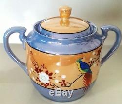 Lusterware 21 Piece Porcelain Coffee/teapot Set Made In Japan Peach And Blue