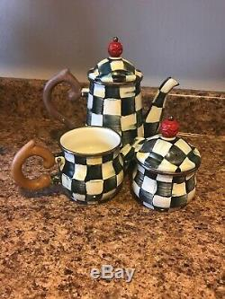 MACKENZIE CHILDS TEA SET Courtly Check Pattern teapot, sugar bowl and creamer
