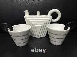 MAS Italy Ceramic Coffee & Tea Set Of Two Cups And Teapot. Very Rare! VTG