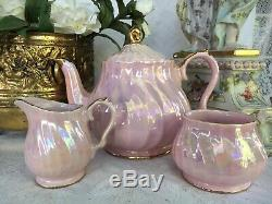 MINT PINK Lustre Sadler Swirl Teapot Set