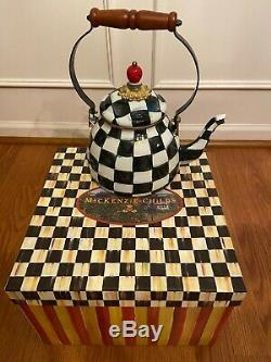 Mackenzie Childs Black and White Checkered Collectible Teapot With Box