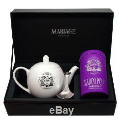 Mariage Freres DÉGUSTATEUR teapot & tea caddy spoon set Marco Polo