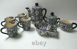 Mexican Talavera Pottery Tea Pot Cup Sugar Creamer Set of Four Blue White