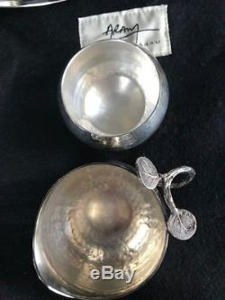 Michael-aram-complete-tea-set-teapot-creamer-with-lids-sugar-bowl-tongs-tray