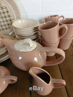 Mid Century Vernon's Heyday Dinnerware Set, Teapot, Covered Butter Dish, Creamer