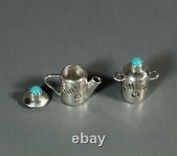 Miniature Teapot set Navajo Sterling Silver Wesley Whitman Signed