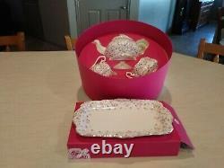 Mint in Box Royal Albert Rose Confetti Tea Pot Set with Bonus Sandwich Tray