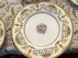 Minton Talbot 64 pc mix China dinner set lot 6 service teapot plate platter cup