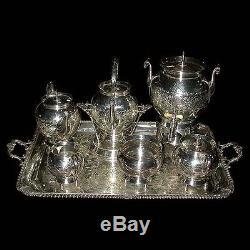 Monumental 19th C. American Eastlake 7-Pc. Silver Plate Tea Set #6148