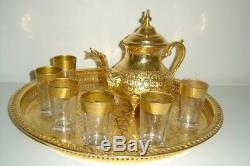 Moroccan Golden Tea Set Handmade Tea Pot, Tea Cups EngravedTea Tray, Set Of 6 Cups
