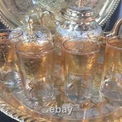 Moroccan Handmade Golden Tea Set TeaPot, Tea Tray, Set Of 6Tea Cups And Sugar Bowl