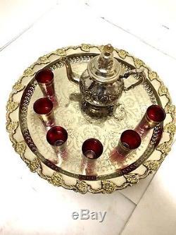 Moroccan Mint Tea Serving Set Antique Teapot & Tea Artisan Glasses Silver Tray