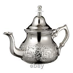 Moroccan Mint Tea Set Silver Tray, Large Teapot, 6 Tea Glasses, Teapot Holder