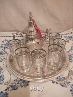 Moroccan Tea Set, Handmade Silver Teapot, Engraved Tea Tray, Set Of 6 CupsNEW