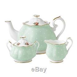 NEW Royal Albert Polka Rose Teapot/ Sugar/ Creamer Set