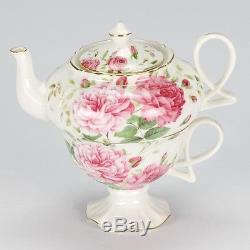 new vintage style tea for one set teapot cup rose shabby. Black Bedroom Furniture Sets. Home Design Ideas