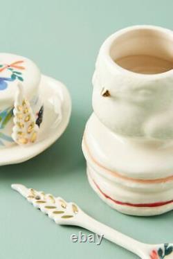 NWT Anthropologie Corinne Tea Set- Teapot, Sugar, Creamer Rabbit Bird Holiday