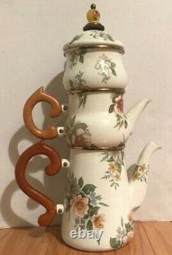 NWT MacKenzie-Childs Vintage Camp High Tea or High Coffee 3-Piece Set with Lid