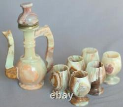 Natural Green Onyx Finjan Coffee/teapot 8 & Six Cups 3 Set