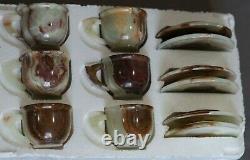 Natural Onyx Saucers 4.5 & Six Cups 3 Set Green Onyx