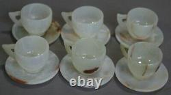 Natural Onyx Saucers 4.5 & Six Cups 3 Set White Onyx