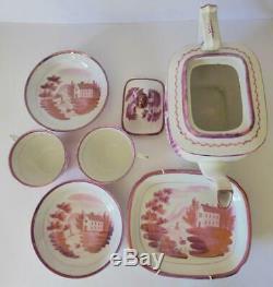 New Hall Georgian Rose 6 Piece Tea Set, c. 1820, Teapot, Dish, Cups & Saucers