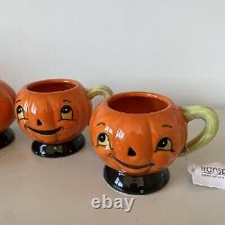 New Johanna Parker Transpac Pumpkin Teapot & Set Of 4 Teacups Halloween 2020