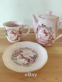 New! Rare Japan Sanrio Hello Kitty x Laura Ashlay Tea Pot Tea Cup Plate set 476