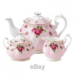 New Royal Albert 3-Piece Set (Teapot, Sugar & Creamer) NCR Pink