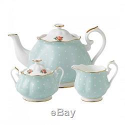 New Royal Albert 3-Piece Set Teapot, Sugar & Creamer Polka Rose