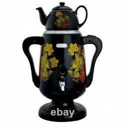 New Russian Electric Samovar Teapot Set Tea Kettle Teakettle Khokhloma BLACK