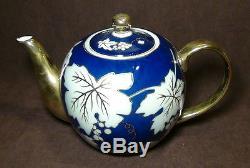 New Russian Lomonosov design cobalt blue Gold Trim china tea set 1teapot 6 bowl