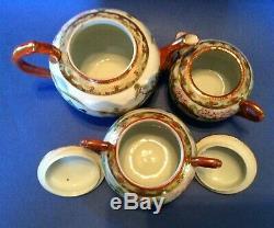 Nippon Kutani Geisha Tea Set Teapot Sugar Creamer 4 Cups & Saucers Japan
