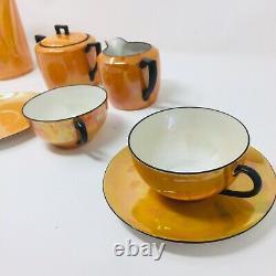 Noritake Art Deco Orange Luster Opalescent Iridescent Coffee Tea Pot Set 1920's