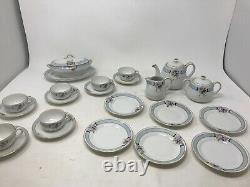 Noritake Childs Tea Set 26 Pc Teapot Sugar Creamer Tureen Hand Painted violets