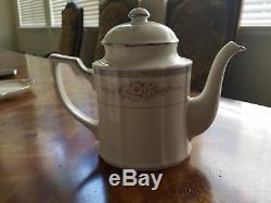 Noritake China Rothschild Tea / Coffee Pot / Teapot, Sugar, Creamer set