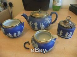 Old Antique Wedgwood Pottery Jasper Ware Silver Tea Set Service Teapot Preserve