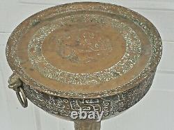 Old Vtg Chinese Japanese Korean Asian Brass Sake Tea Set Stand Pedistal Table