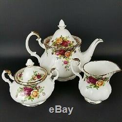 Original 1962 Run Royal Albert Old Country Roses Teapot 2002 Creamer Sugar Set