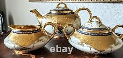 Osborne China Art Studio Chicago Tea Pot Creamer Sugar Set Gold Encrusted c1910